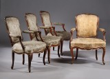 Sæt på fire rokoko armstole, Frankrig eller Danmark,  ca. 1760. (4)