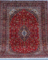 Persisk Kashan, Stort håndknyttet tæppe, 405 x 300 cm