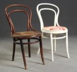 Paar Stühle/ Kaffeehausstuhl, mit Rohrgeflecht/ Flechtwerk, Entwurf Thonet (2)