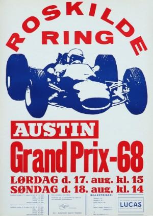 Plakat, Roskilde Ring Grand Prix -68 ,1968 - Dk, Vejle, Dandyvej - Reklameplakat, 'Roskilde Ring Grand Prix -68' , litografisk trykt,1968. 62 x 44 cm. Uden ramme. - Dk, Vejle, Dandyvej