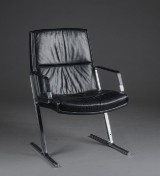 Preben Fabricius. Lounge chair, steel and leather
