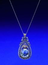 Carl Fabergé. Aquamarin og diamant halssmykke