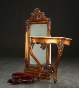 Nyrokoko spejl og konsol samt et par brudeskamler, 1800-tallets sidste halvdel (4)