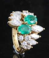Diamond and emerald ring in 18kt approx. 2.50ct