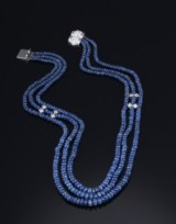 A sapphire and diamond necklace with sapphire beads, total approx. 238.00 ct. and diamonds, approx. 1.00 ct. 20th century-second half