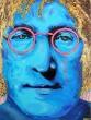 Flör, acrylic on canvas, 'Gold Lennon'