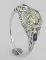 Ring in platina with old miners cut diamond 1.30 ct
