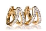 Øreringe m/ diamanter, 14 kt guld. Et par, 0.40 ct (2)