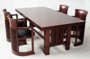 Lot 2818098 Frank Lloyd Wright Four Barrel Chairs And Taliesin Dining Table