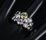 Ole Lynggaard. 'Bubbles' ring, 18 kt. white gold with e.g. tourmaline and diamonds