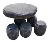 Table and 4 stools, bluestone, China (5)