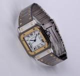 Cartier 'Santos'. Herreur af 18 kt. guld og stål med dato, 1990'erne