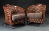 Par lænestole af lakeret træ og fletværk, 1900-tallet (2)