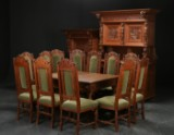 Dining room suite, solid oak, Baroque style, c. 1920 (20)