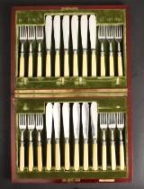 Engelsk fiskebestik, ben og sølv, 1900-tallets begyndelse (25)
