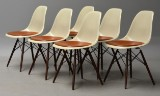 Charles Eames. A set of six shell chairs, model DSW, seats with leather cushions (6)