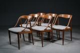 Johannes Andersen. Six chairs, teak and wool (6)