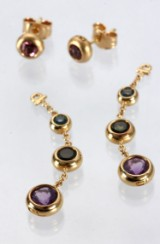 Ole Lynggaard. 'Bobbel' earrings, pendants, 18 kt. gold with pink tourmaline, topaz and amethyst (2)