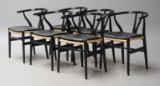 Hans J. Wegner. A set of six chairs, Wishbone Chair, with black-lacquered wood (6)