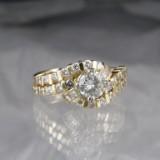 Brilliant-cut diamond and diamond ring, gold, approx. 1.70 ct.