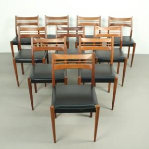 Set Stühle Teakstühle Der 1960er70er Jahre Mit Lederbezug 10