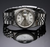 Rolex 'Datejust'. Men's watch, steel with silver-coloured dial with date, c. 2005