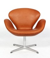 Arne Jacobsen. The Swan, cognac colored leather