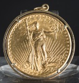 Guldmnønt i fatning - 20 Dollar United States of Amerika
