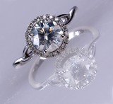Solitaire ring - diamond ring, 18 kt. white gold with diamond, approx. 1.50 ct