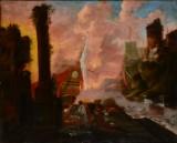 Ubekendt kunstner, olie på lærred monteret på træplade, Havneparti, 1700-tallet