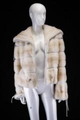 Shot mink coat, Pearl Cross, size 42, Saga Mink, Superb Quality