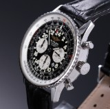 Breitling 'Navitimer Cosmonaut '. Men's chronograph, steel with black dial, c. 2010