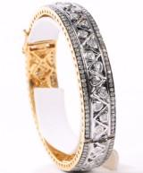 Diamant armbånd, 14 kt. guld/ sort oxideret sterling sølv, ca. 5.8 ct.