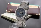 Rolex Datejust. Herreur i stål med blå skive, certifikat 1989