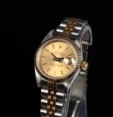 Rolex Oyster Perpetual Datejust, damearmbåndsur af guld og stål