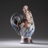 Viggo Kyhn. 'Hane' figur i delvist glaceret stentøj