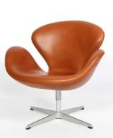 Arne Jacobsen. Lounge chair, The Swan, Walnut Elegance leather