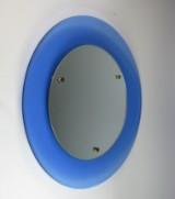 Spiegel / Wandspiegel der 1950er Jahre in blauem Glas, im Stile Fontana Arte