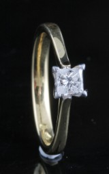 Ring in 18k set with princess cut diamond 0.40 ct