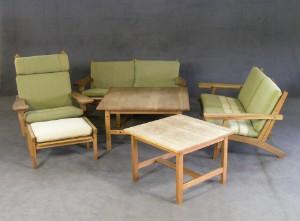 furniture hans wegner seating set ge 375. Black Bedroom Furniture Sets. Home Design Ideas