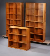 Mogens Koch, a set of five bookcases, elm, with two oregon pine bases, Rud. Rasmussen Snedkerier (7)