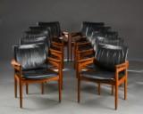 Finn Juhl. Ti armstole, teak, sort læder, model 192 (10)