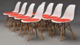Charles Eames. Sæt på otte skalstole med hopsak, model DSW (8)