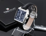 Tag Heuer 'Monaco Chronograph'. Men's watch, steel, with black dial, certificate 2014