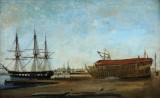 Carl Bille. Havneparti ved et skibsværft