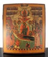 Russisk ikon, æggetempera på træ, 'Marias hensovelse', 1700-tallet