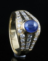 Diamond and sapphire ring in 18kt approx. 0.50ct