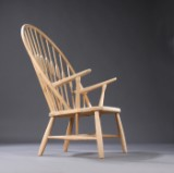 Hans J. Wegner Påfuglestolen, model 550, armstol af massivt asketræ, armlæn af asketræ,