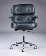 Charles Eames. Office. Time Life Lobby Chair, reupholsterer in black aniline leather