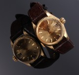 Rolex 'Datejust'. Vintage ladies watch, 18 kt. gold with champagne-coloured dial, c. 1968